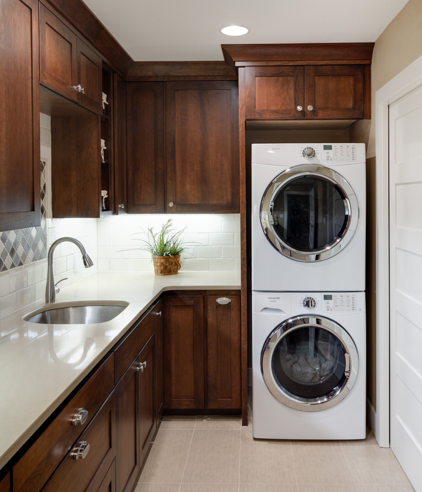 Fascinating Laundry Room Decor With Dark Wood Cabinet